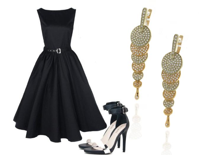 Образ с черным платьем и украшениями