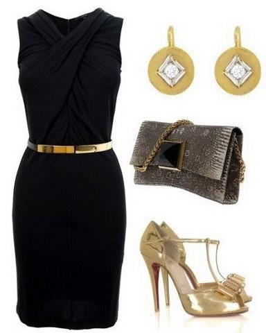 Образ с черным платьем и украшениями под золото