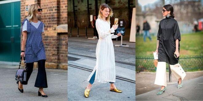 Как носить платье с брюками