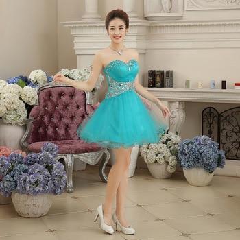 Короткое свадебное платье мятного цвета