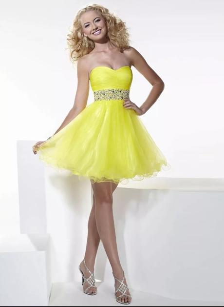 Короткое свадебное платье лимонного цвета