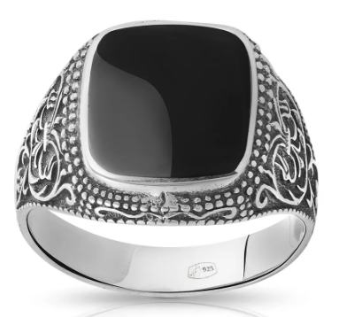 Мужское кольцо-печатка из черненого серебра с обсидианом
