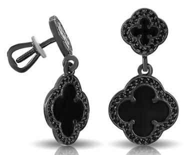 Серьги-пусеты из черненого серебра с эмалью